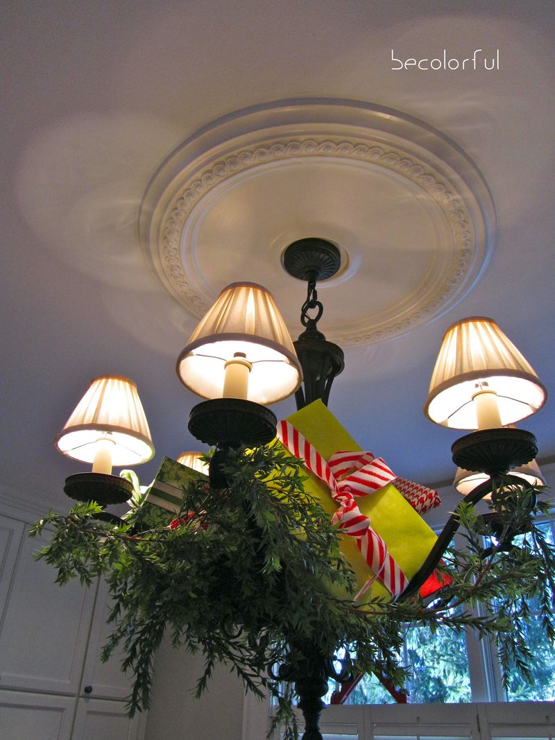 Christmas kitchen chandelier looking up