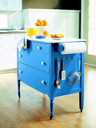 Blue dresser cart for island kitchen