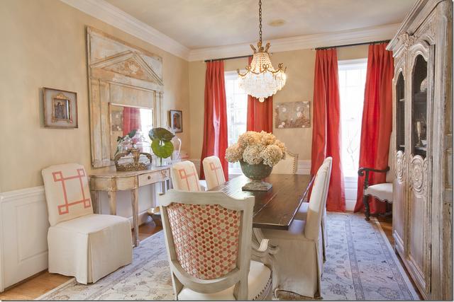 Coral dining room drapes via baylor says