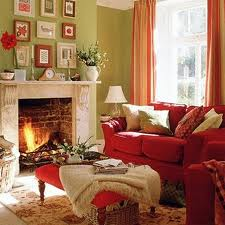 Red and green living room with taupe