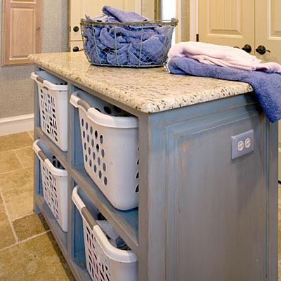 Laundry storage island