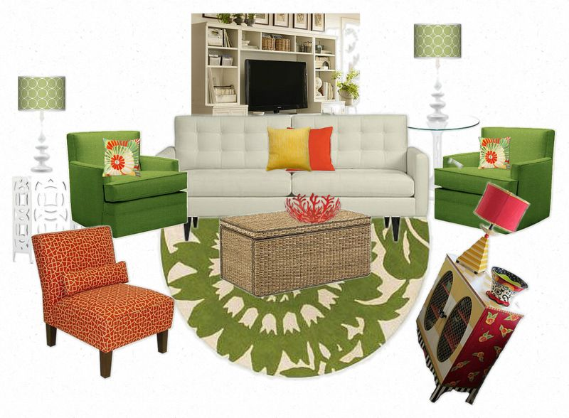 OB-candace olson sandy chairs in green with Thomas Paul rug