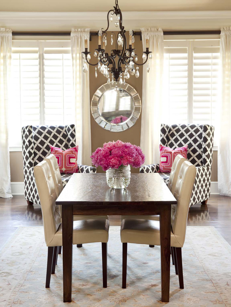 Pink dining rooms becolorful the lennoxx brown white pink traditional dining room dzzzfo