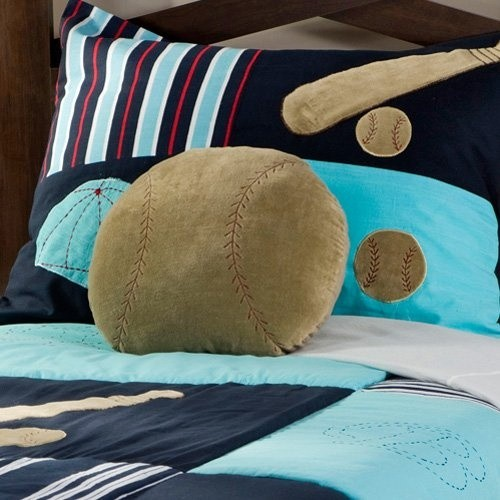 Navy and aqua boy bedding