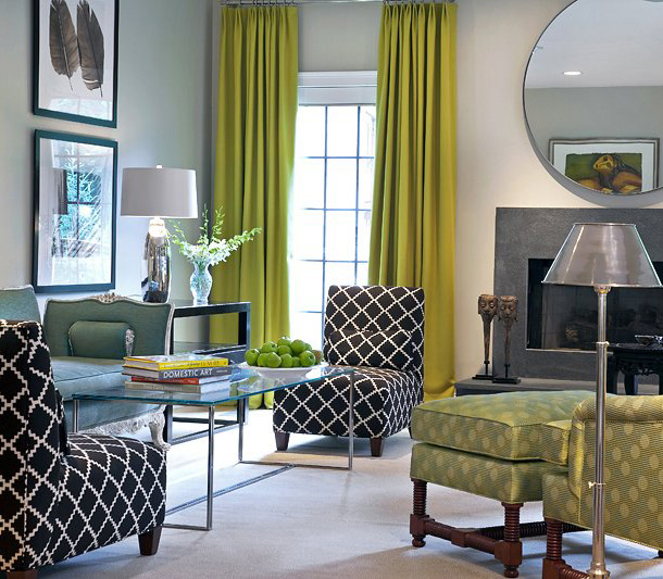 House-beautiful-gray-walls-chartreuse-drapery-more-modern