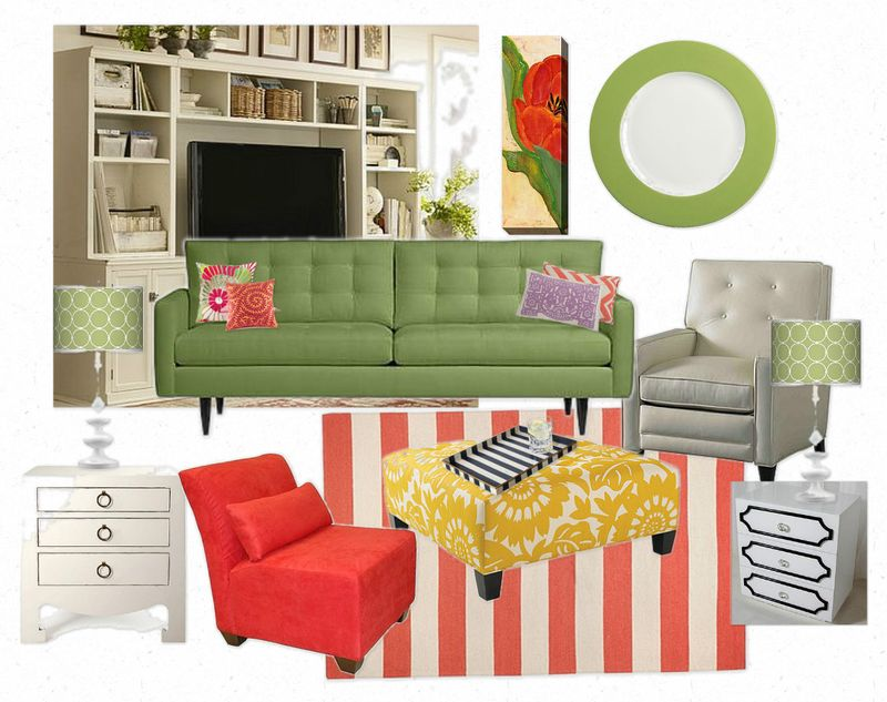 OB-green room with green sofa red chair lowered