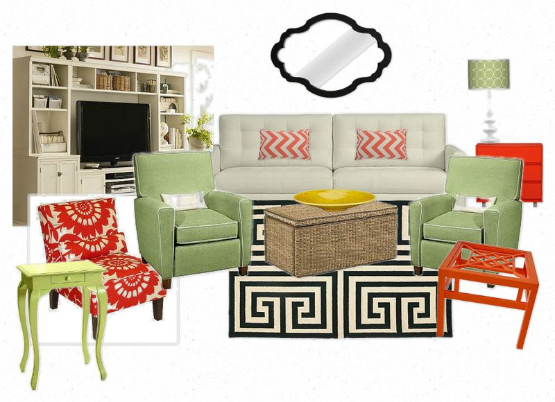 OB-green room with white sofa green chairs and red accents