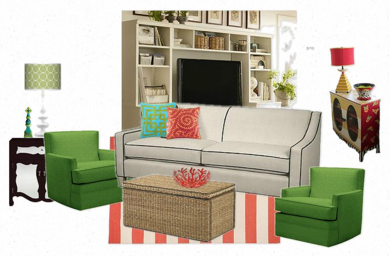 OB-candace olson green chairs with norwalk sofa