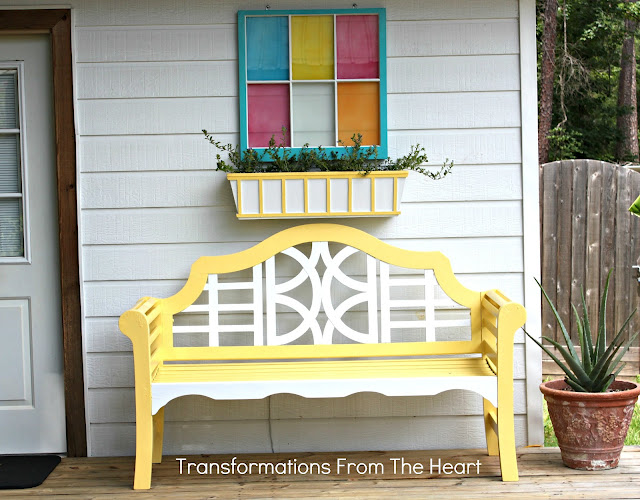 Painted window bench planter 1
