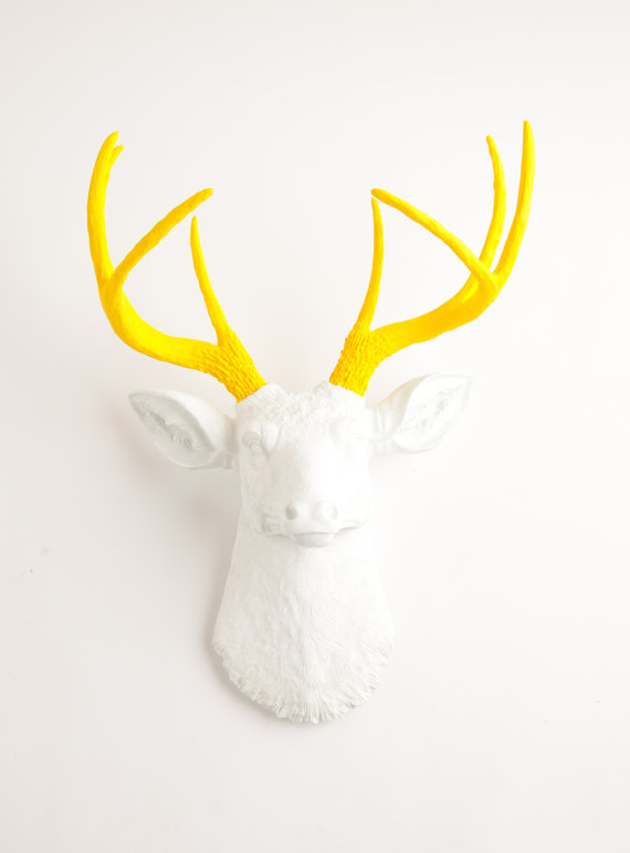 The-baron-white-and-yellow-antlers-resin-deer-head-white-faux-taxidermy