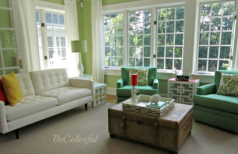 Green room with old coffee table