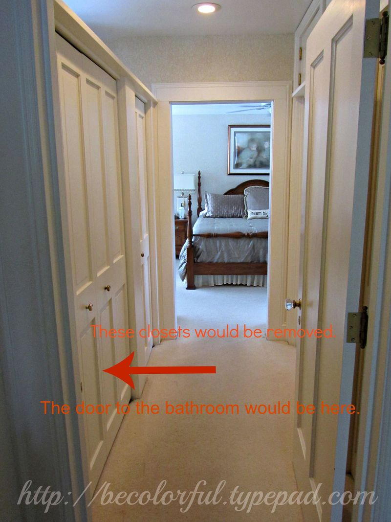 Removing closets add bathroom door