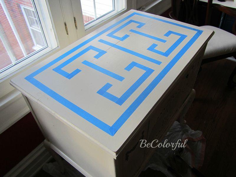 HR cabinet in white w tape design
