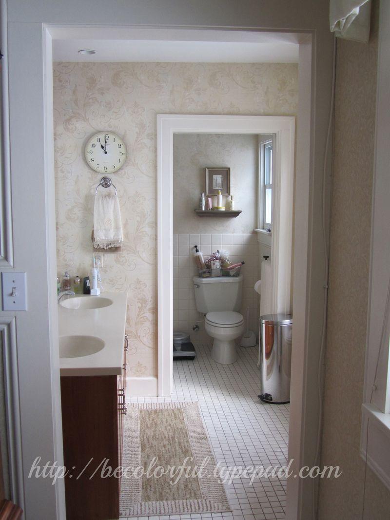 View into bath pocket door open