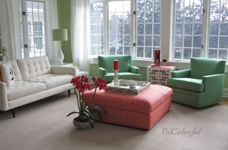 Ottoman in green room