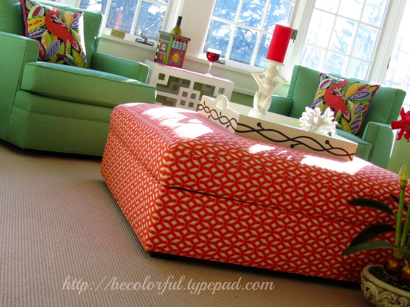 Ibis pillows on chairs with ottoman