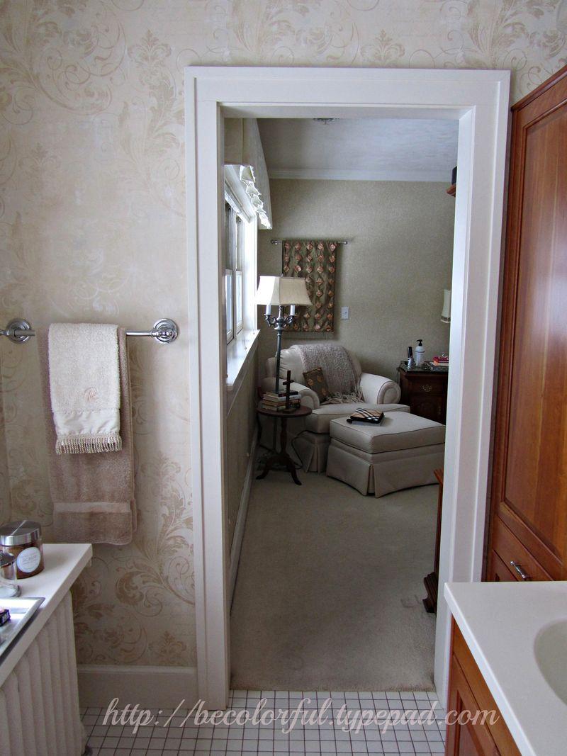 Bath before view toward bedroom