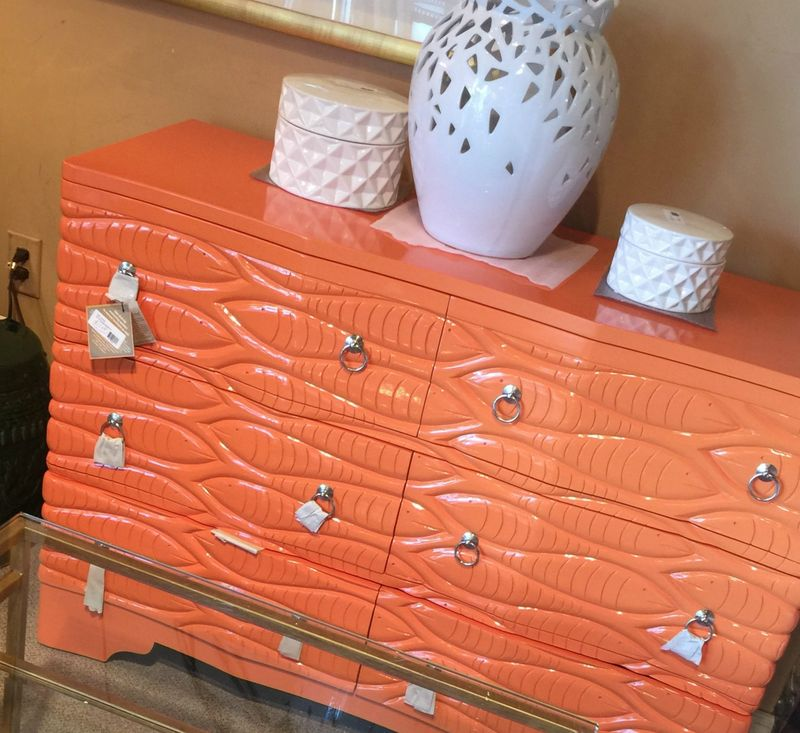 Orange glossy dresser with fish design
