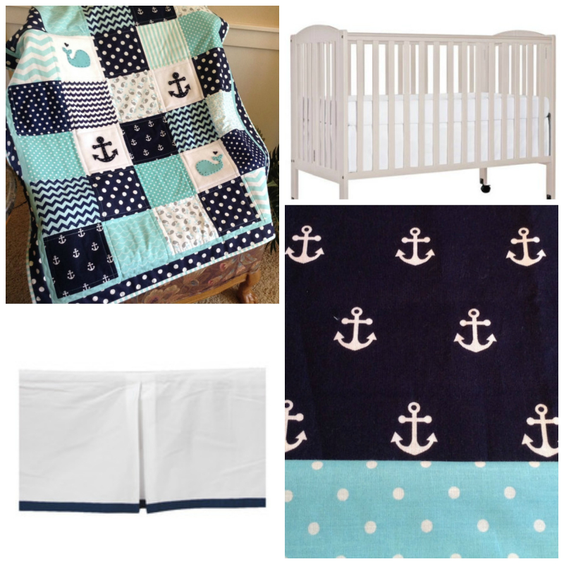 Navy and aqua nautical crib