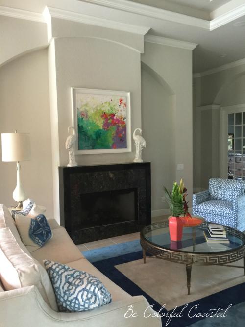 Living room toward black box fireplace
