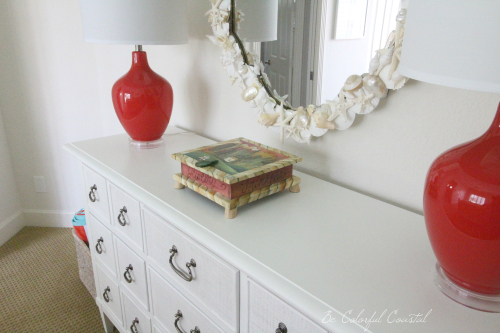 Dresser top and shell mirror toward basket
