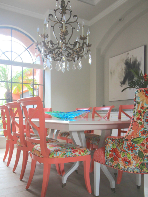 Colorful dining table and chairs upholstered vertical