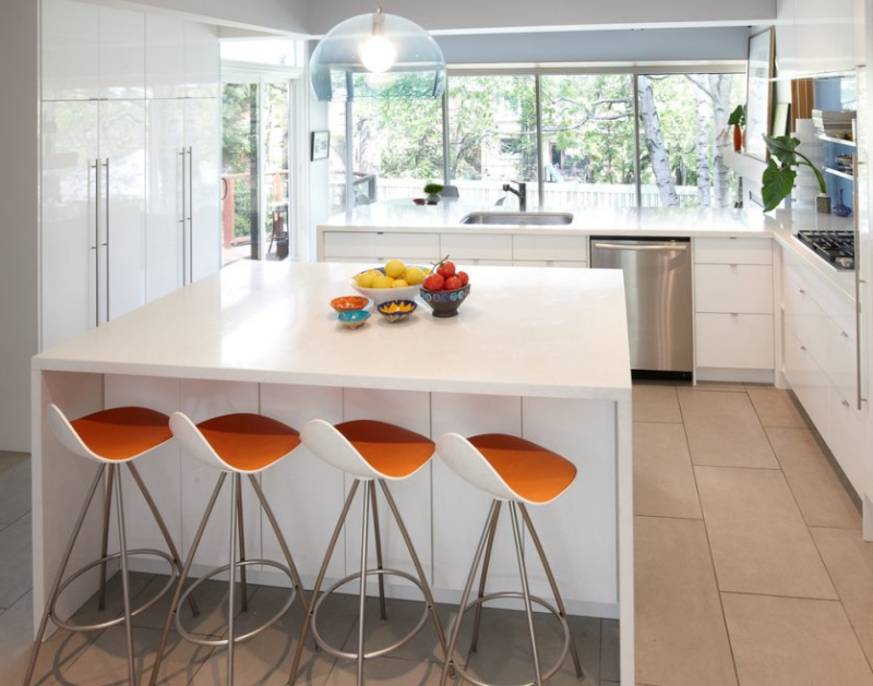Http-::www.anyward.com:applying-contemporary-counter-stools-for-increadible-kitchen:beautiful-orange-barstool-to-set-with-white-kitchen-bar-counter-ideas: