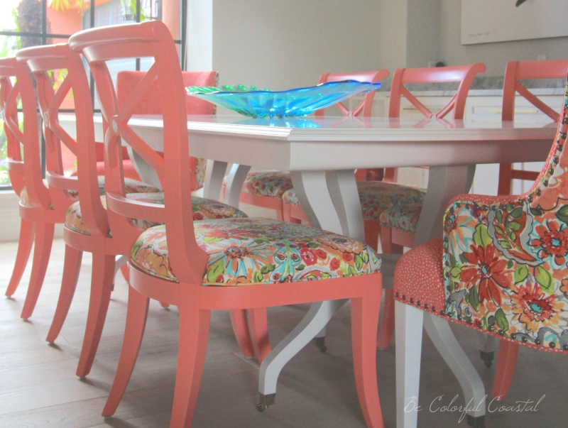 Close up of chairs and table toward window