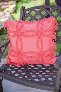 Coral chenile pillow