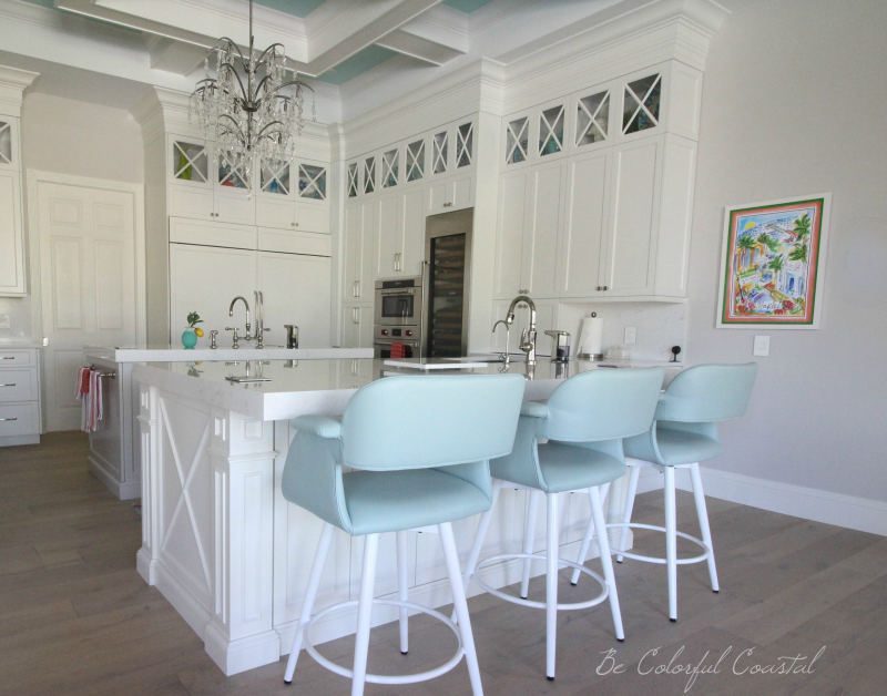 Balboa Mist walls in coastal kitchen