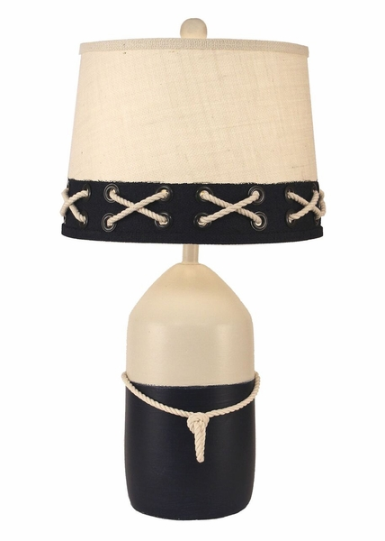 Cottage and Bungalow Large Bouy Pot with White Rope Accent Lamp