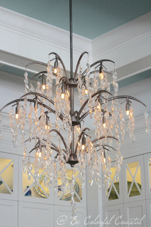 Chandelier with lights on
