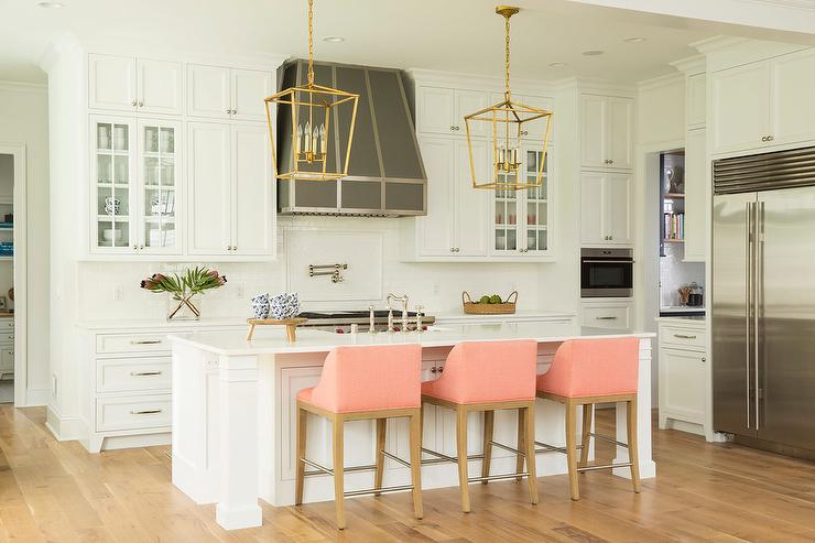 Via upholstered-kitchen-counter-stools-fabric-bar-stools-with-arms-white-center-island-pink-upholstered-stools
