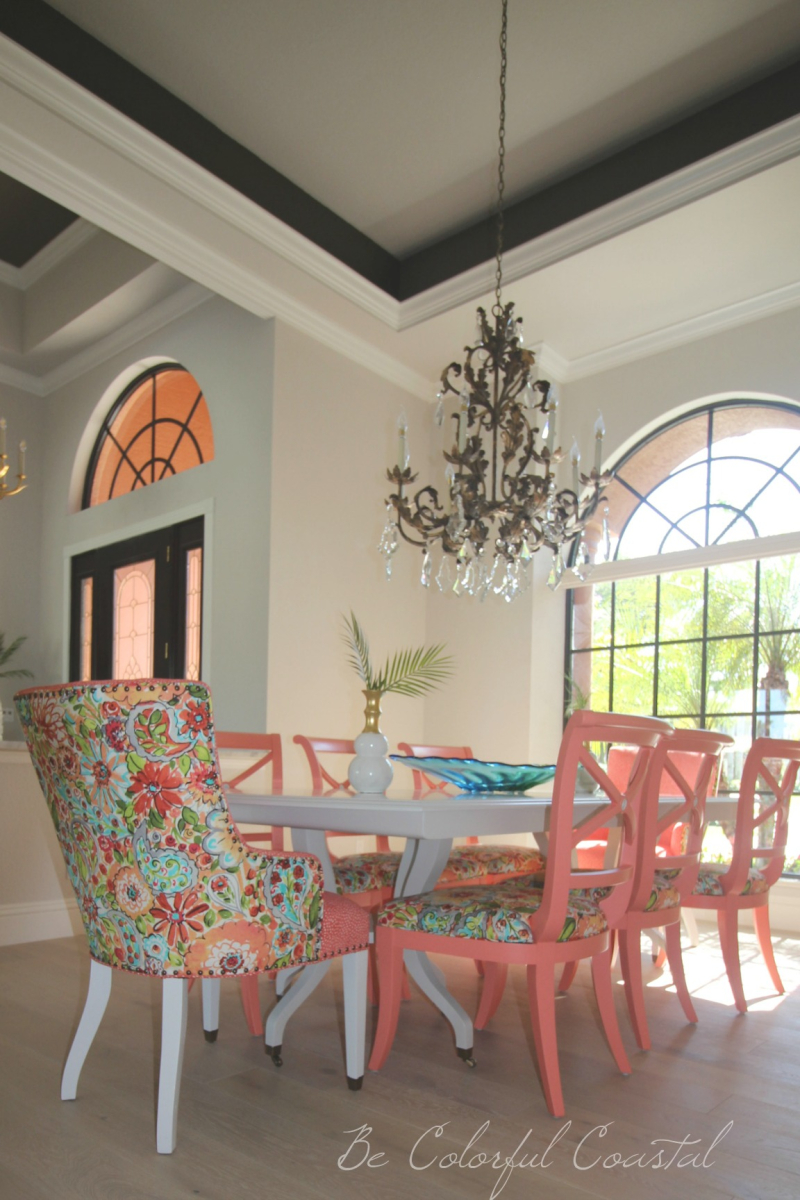 The best colorful coral  dining room chairs