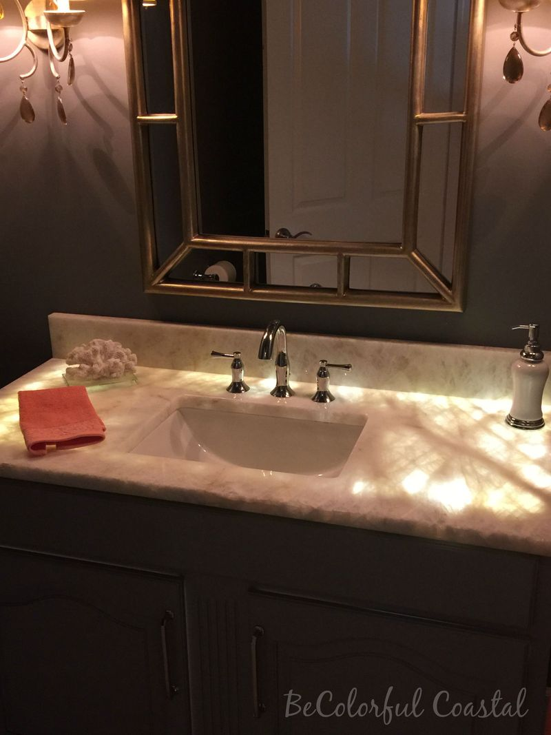 Powder room with lighted top