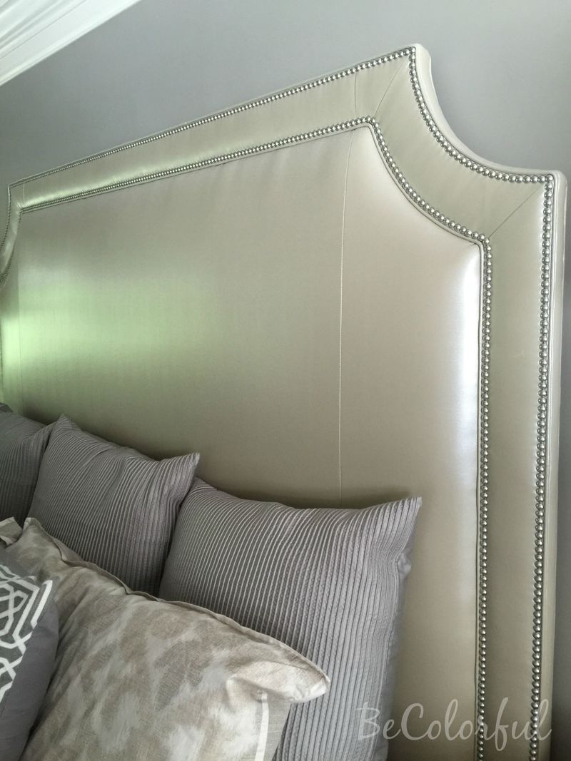 Close up of headboard and pillows