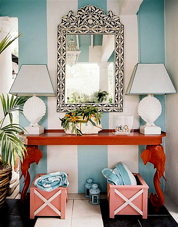 Decor pad aqua stripe and coral entry