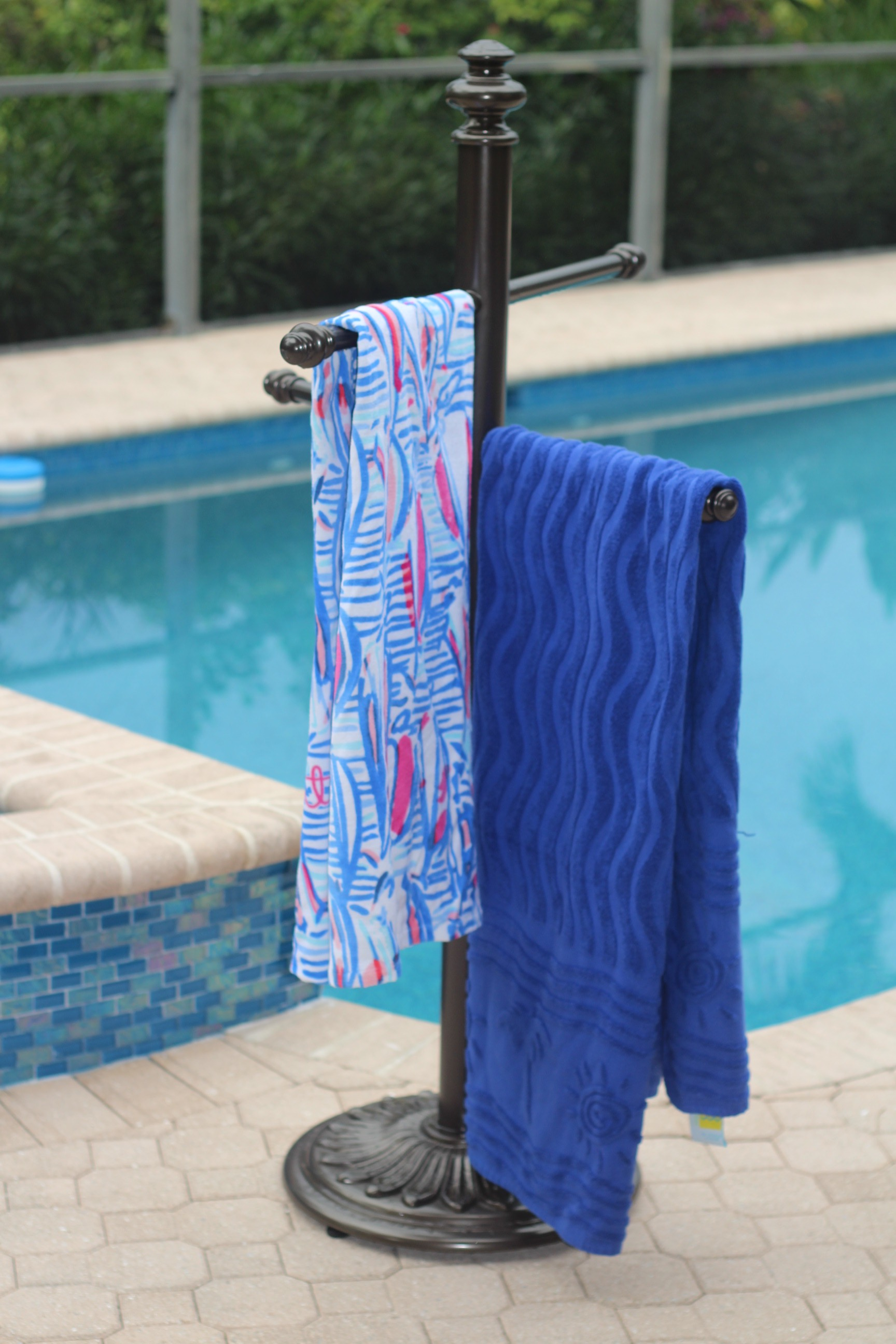 if you have a pool this is the product you are looking for no more wet towels scattered over the pool deck or draped on the backs of the outdoor furniture
