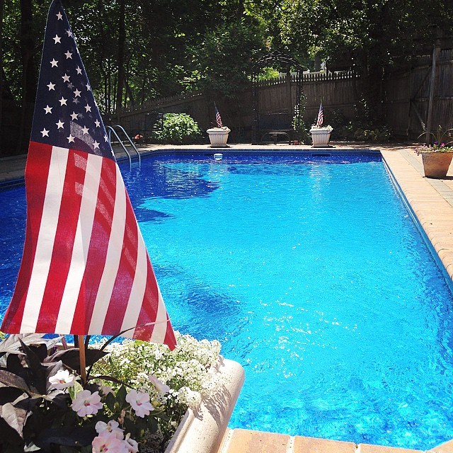 Flag by the pool