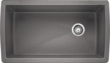 Metallic gray single bowl