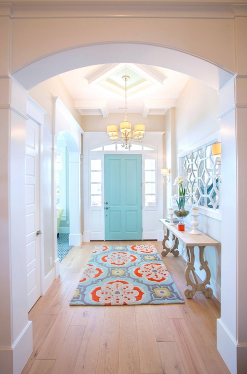 Aqua front door with coral via Pinterest