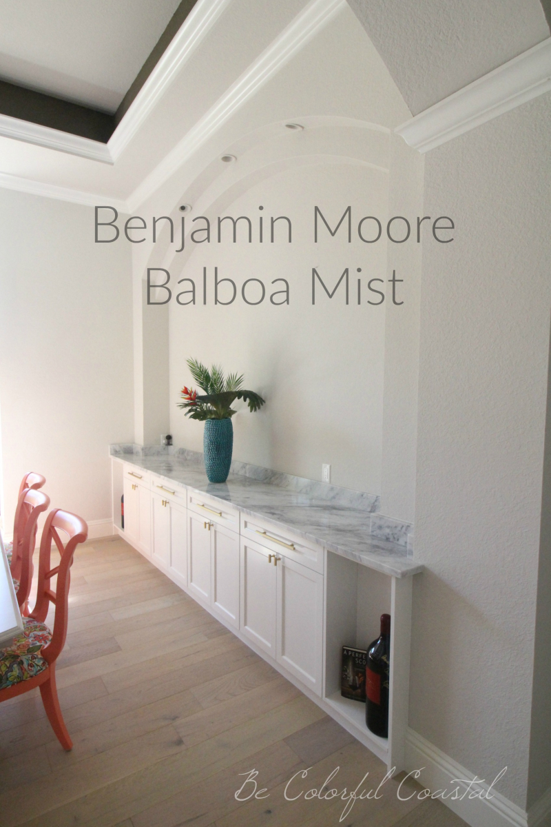 Benjamin Moore Balboa Mist wall color with marble buffet