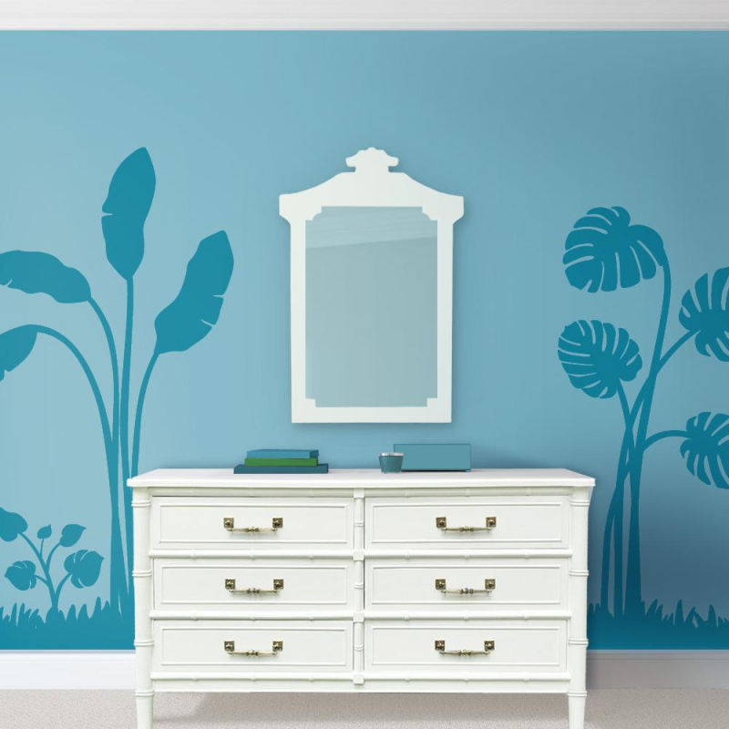 Tropicial-leaves-mural-henry-link-dresser-palm-beach-chic