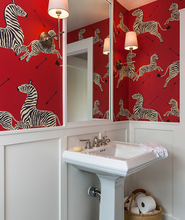 White-and-red-powder-room-board-and-batten