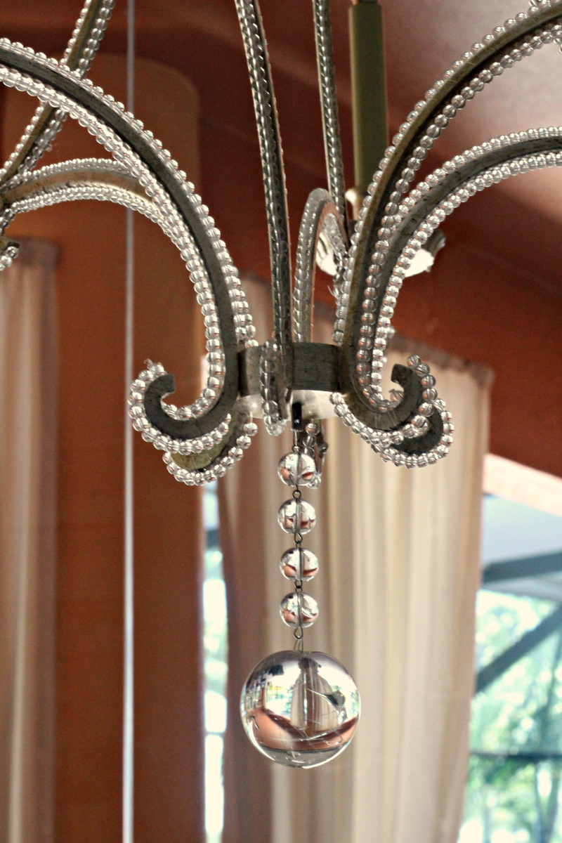 Close up of kitchen table chandy
