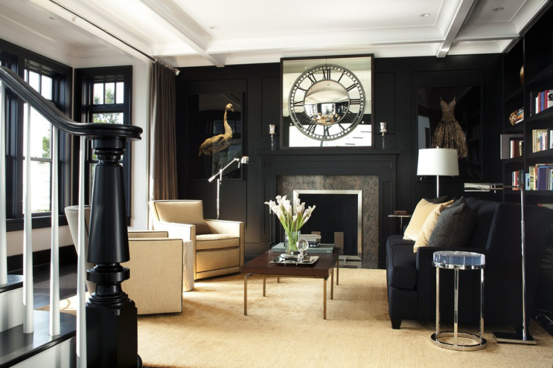 Inspired-Black-Sofa-technique-Boston-Transitional-Living-Room-Inspiration-with-area-rug-black-black-and-white-black-floor-black-walls-bookcase-bookshelves-built-in