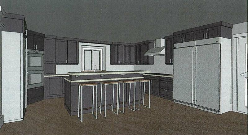 Kitchen CAD with dark cupboards