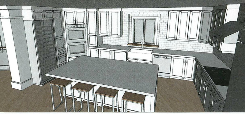 Kitchen CAD featuring wine column