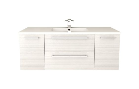 White floating vanity