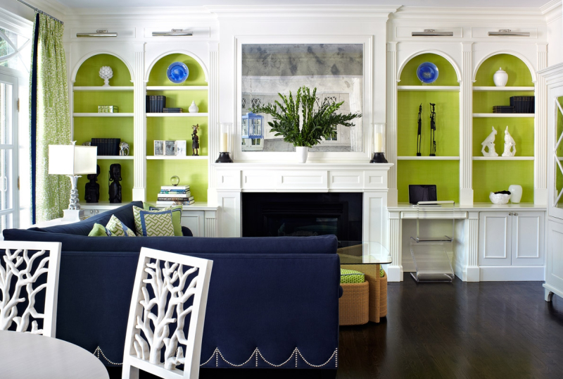 Navy Green Family Room driven by decor